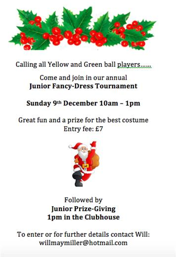 Christmas tournament - Fancy Dress Tournament & Junior Prize-giving